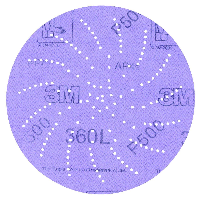 3M Clean Sanding Disc 360L, Film, Hook and Loop, Aluminum Oxide, 5'' Diameter, P1000 Grit  (Pack of 100)