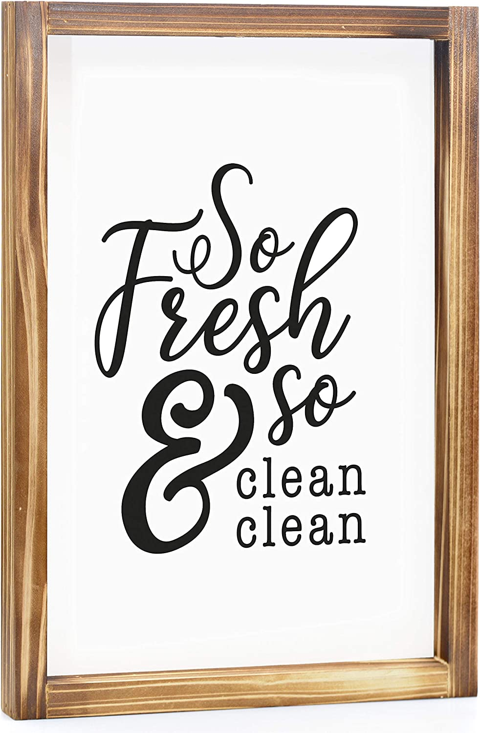 MAINEVENT So Fresh and So Clean Clean Sign - Funny Farmhouse Bathroom Sign, Cute Guest Bathroom Decor Wall Art, Rustic Home Decor, Modern Farmhouse Sign for Bathroom Wall with Funny Quotes 11x16 Inch