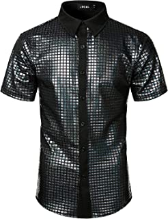 COOFANDY Mens Short Sleeve Luxury Shiny Printed Polo Shirt Prom 70s Disco Nightclub Party T-Shirts