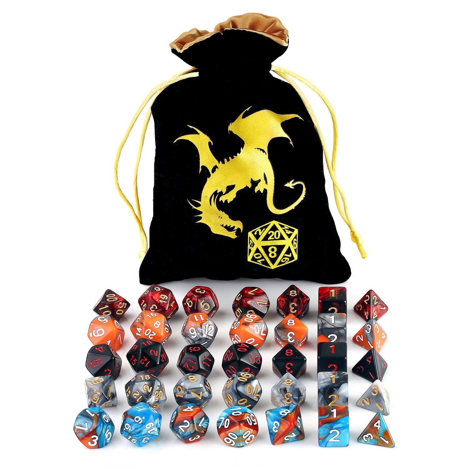 Polyhedral DnD Dice Set with Large Black Gold Drawstring Bag – 5 Complete RPG Dice Sets For Dungeons and Dragons D&D Role Playing Game MTG, of D4 D6 D8 D10 D00 D12 D20 Table Games