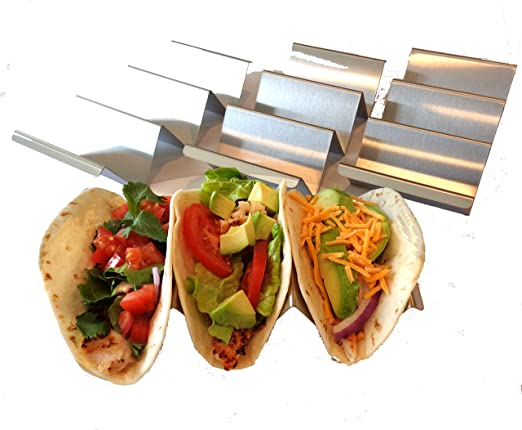 Pack of 2 Different Size Taco Holder Stainless Steel Presenting Stand Soft Shell Taco Tray Silver