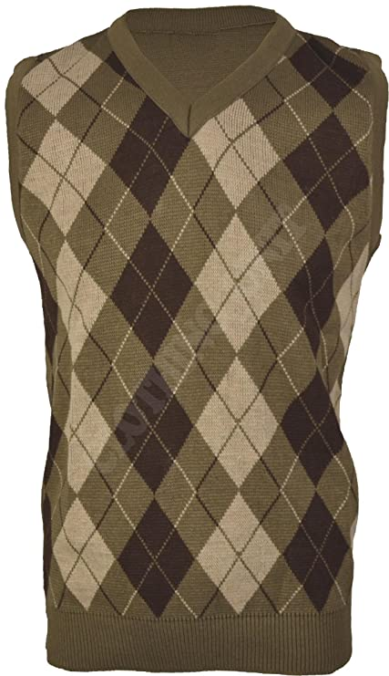 1920s Men's Fashion UK | Peaky Blinders Clothing Clothing Unit VS1 Mens Argyle V Neck Sleeveless Sweater Jumper Tank Top Jersey Golf Casual £13.99 AT vintagedancer.com