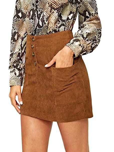 7cbd5bceb20 SheIn Women's Mid Waist Button Front Double Pocket Above Knee A Line Short  Skirt at Amazon Women's Clothing store: