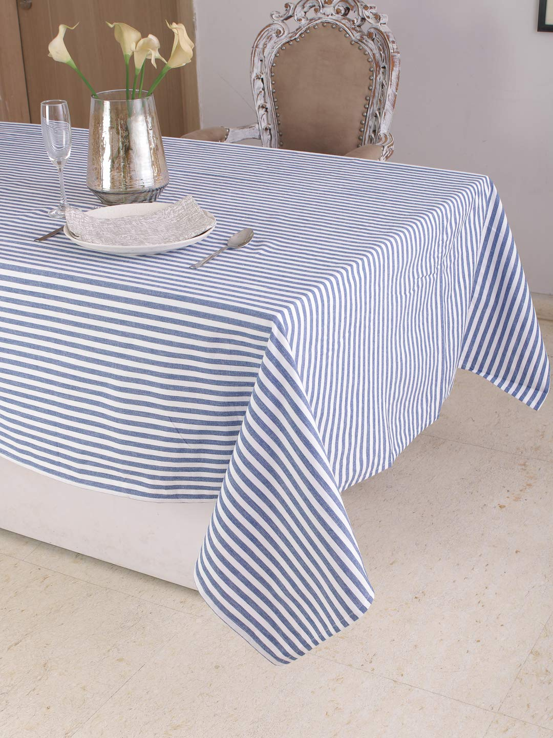 Cotton Rectangular Table Cloth (60 x 104 Inches), Blue & White Stripe - Perfect For Spring, Summer, Holidays - Christmas And For Everyday Use
