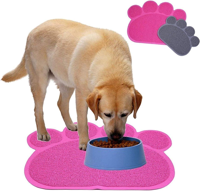 Medidas 40 x 30 cm 2 Alfombrillas de goma con forma de huella para comederos o areneros de mascotas; alfombrilla para perros y gatos Cloud Heart