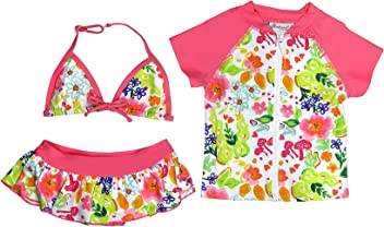 41ac970ef7412 Floatimini Little Girls' Flower Garden Bikini & Short Sleeve Rash Guard 3  pc Set