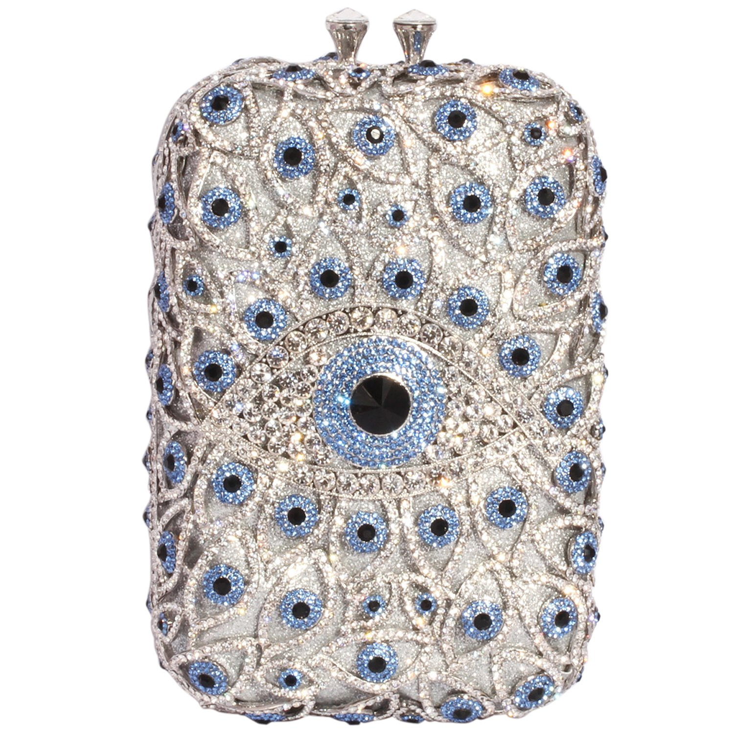 Digabi Eyes Rhinestone Purses Rectangle Shape Retro women Crystal Evening Clutch Bags (One Size : 4.72 IN (L) x 7.87 IN (H) x 2.6 IN (W), White and Sky Blue Crystal - Silver Plated)