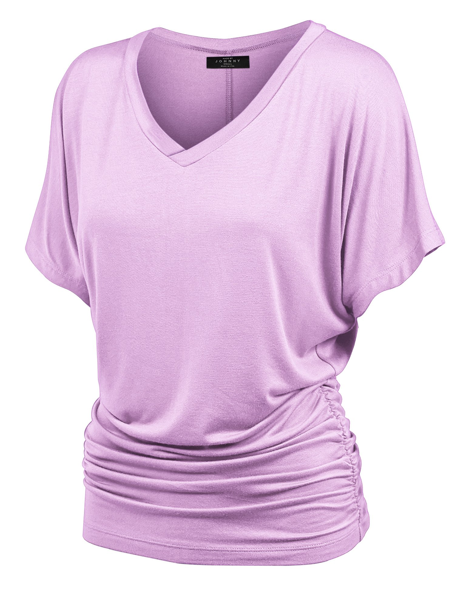 MBJ WT1037 V Neck Short Sleeve Dolman Top with Side Shirring M Lilac