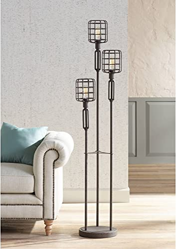 Modern Industrial Floor Lamp Rustic Metal Cage Dimmable 3-Light LED Antique Edison Bulb