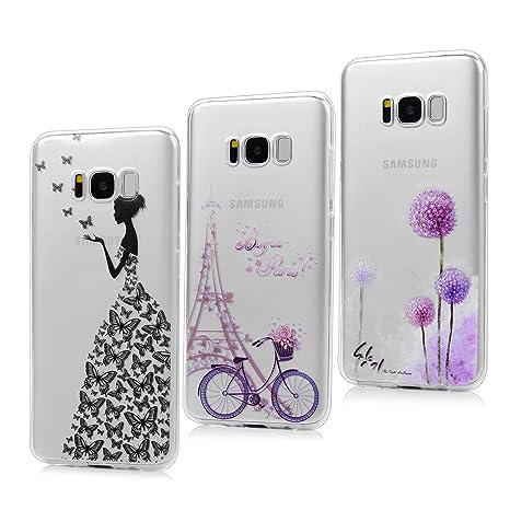 3X Funda para Samsung Galaxy S8, Carcasa Silicona Gel Case Ultra Delgado TPU Goma Flexible Cover para Samsung Galaxy S8 - Chica + Bici + Diente De ...
