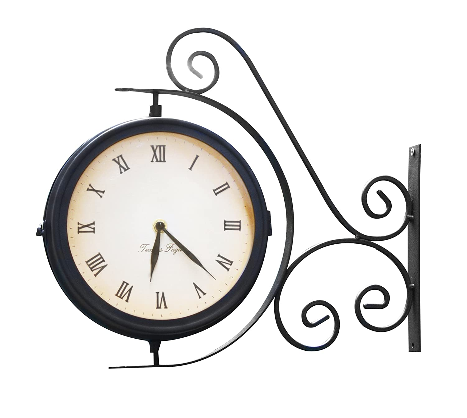 Amazon.com : Indoor Outdoor Garden Yard Bracket Clock U0026 Thermometer  (13.8ins) : Outdoor Clock Large : Garden U0026 Outdoor