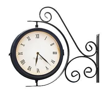 Indoor Outdoor Garden Yard Bracket Clock U0026 Thermometer ...