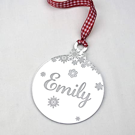 rustic charm personalised christmas tree decoration mirrored acrylic xmas bauble gift with engraved name