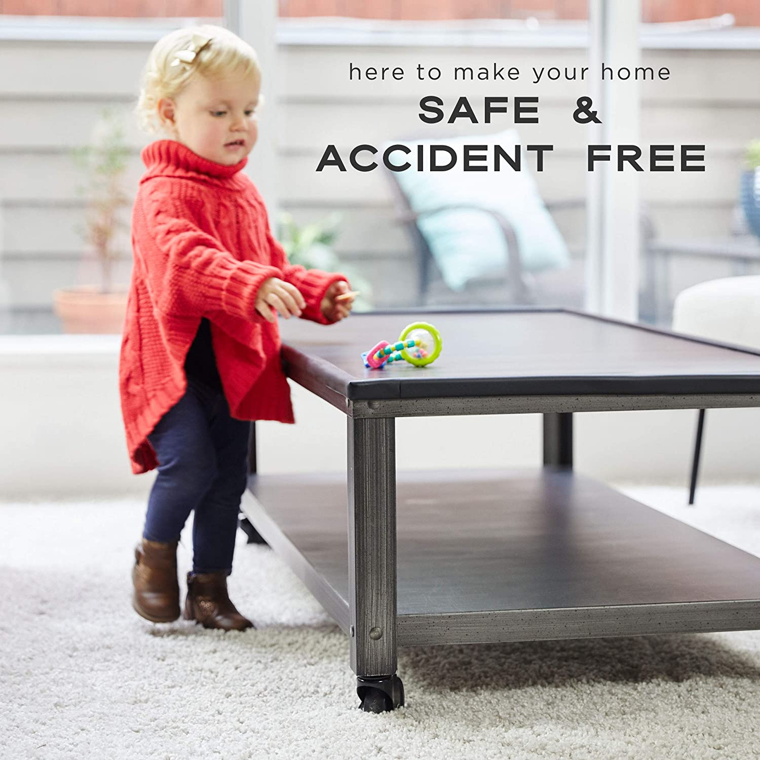 16.4 feet and 4 Corners, Onyx Black Child Proof Furniture and Tables Pre-Taped Bumper Corners Bebe Earth Safety Bumpers Baby Proofing Edge and Corner Guard Protector Set