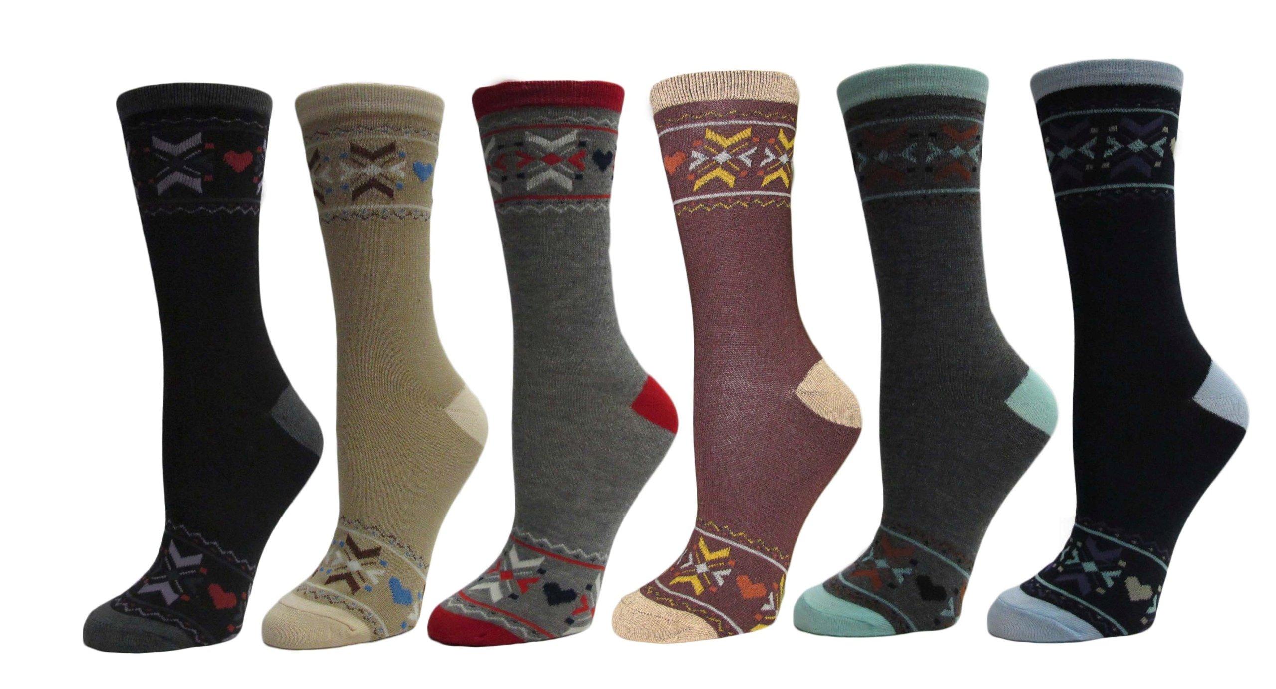 Gilbin Women's pattern Dress Crew Socks 6 Pair Size 9-11 (Style 5 Winter) by Gilbin