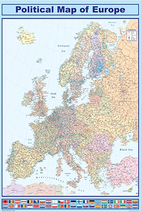 Huge laminated encapsulated map of europe eu with flags in english huge laminated encapsulated map of europe eu with flags in english poster gumiabroncs Images