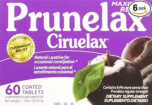 Amazon.com: Prunelax Maximum Relief Tablets, 60 ea. (Pack of 6, 360 ea.) Natural laxative: Health & Personal Care