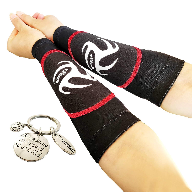 バレーボールパッド入りアームスリーブ ユース/女の子/男の子用 | 前腕の痛みを軽減し、ボールを打つための完璧なスポットを示します | パス練習に最適 | バレーボールキーホルダー付き | ギフトに | 赤 Padded Sleeves Without Thumbhole