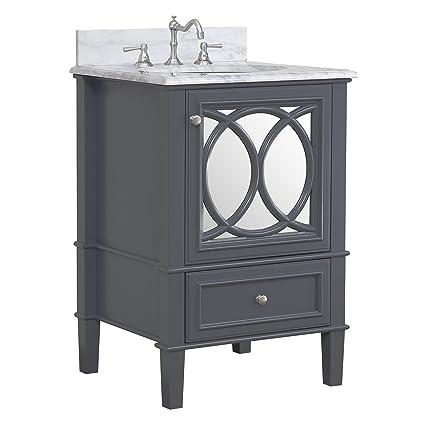 Olivia 24 Inch Bathroom Vanity Carrara Charcoal Gray Includes