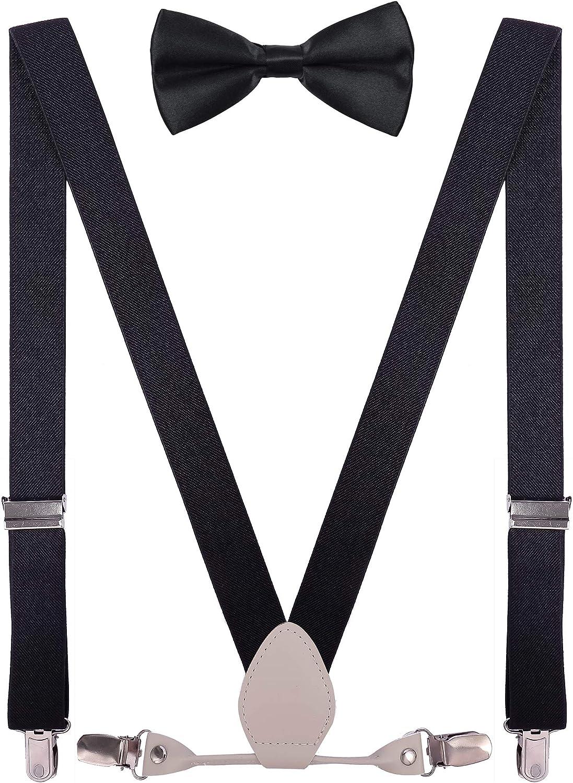 TieMart Boys Pink Skinny Suspenders