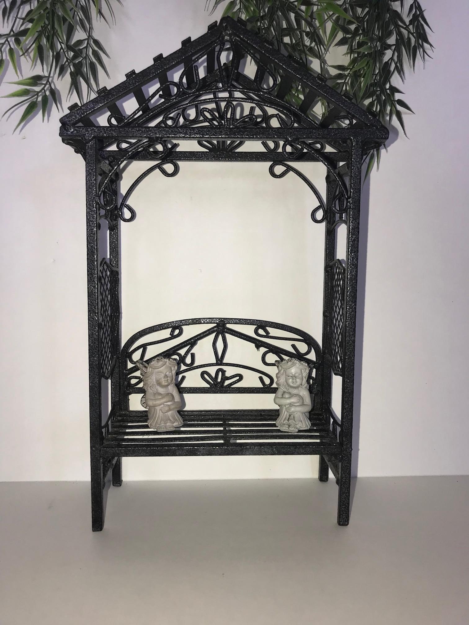 Miniature Fairy Arbor Bench with 2 Fairies - Quality Metal Garden Furniture, Amazing Decorative Detail