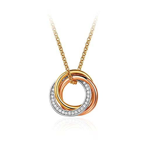 MYJS Trinity 3 Gold Plated Interlocking Pendant Necklace with Cubic Zirconia, 17+2