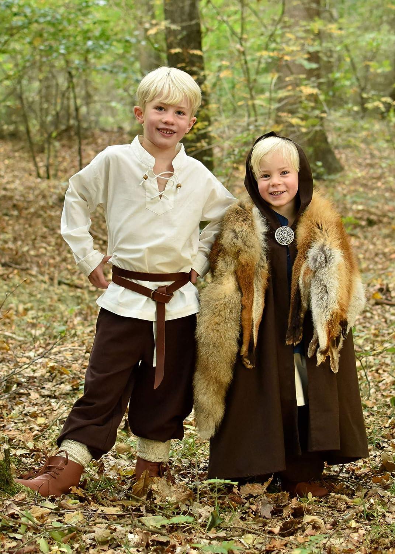 4-16 ans Cape m/édi/évale /à capuche marron//noir unisexe pour enfant jeux de r/ôle grandeur nature//style viking