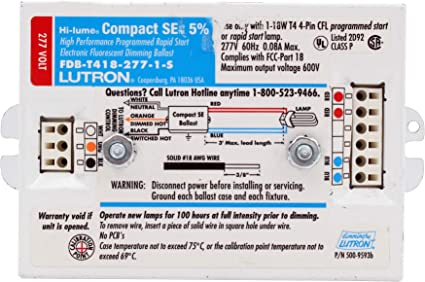 1 18W 4-Pin CFL Lutron FDB-T418-120-1 Hi-Lume 5/% Dimmable Dimming Ballast for