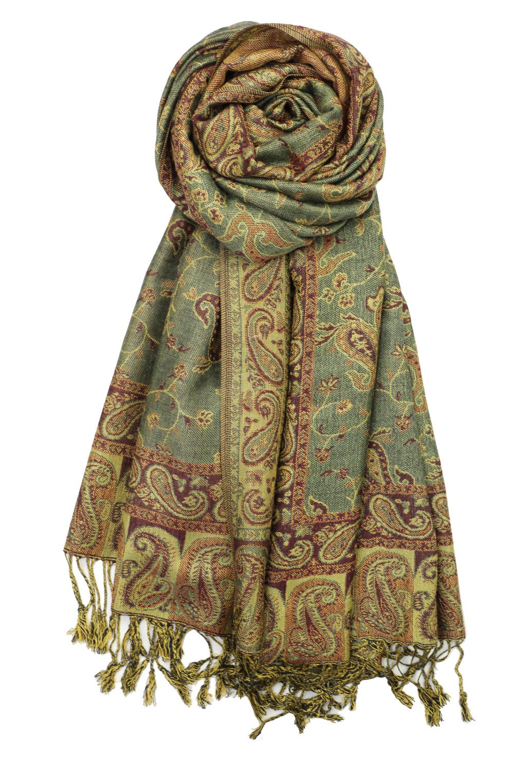 Achillea Soft Silky Reversible Paisley Pashmina Shawl Wrap Scarf w/Fringes 80'' x 28'' (Sage Green)