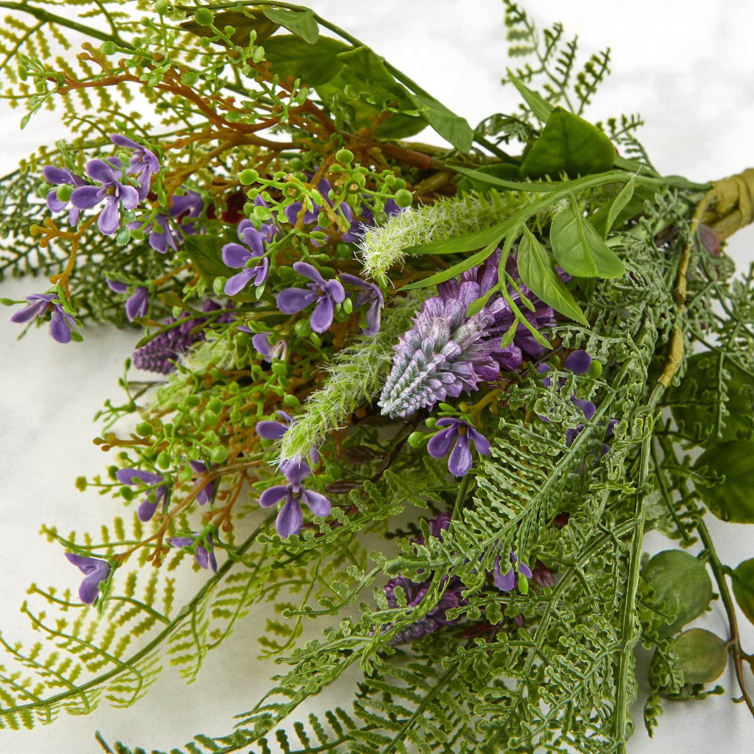 Factory Direct Craft Artificial Fern Bush with Lavender Flower Cattail for Indoor Decor