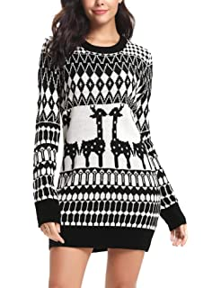 Haluoo Christmas Sweater Dress Womens Ugly Vintage Long Sleeve Slim