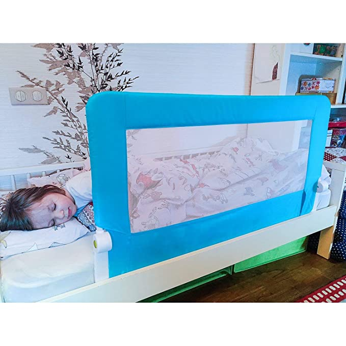 Tatkraft Guard Baby Bed Rail Foldable 120 cm Easy Fit Safety Rail for Toddlers//Kids//Children Sturdy and Solid Blue