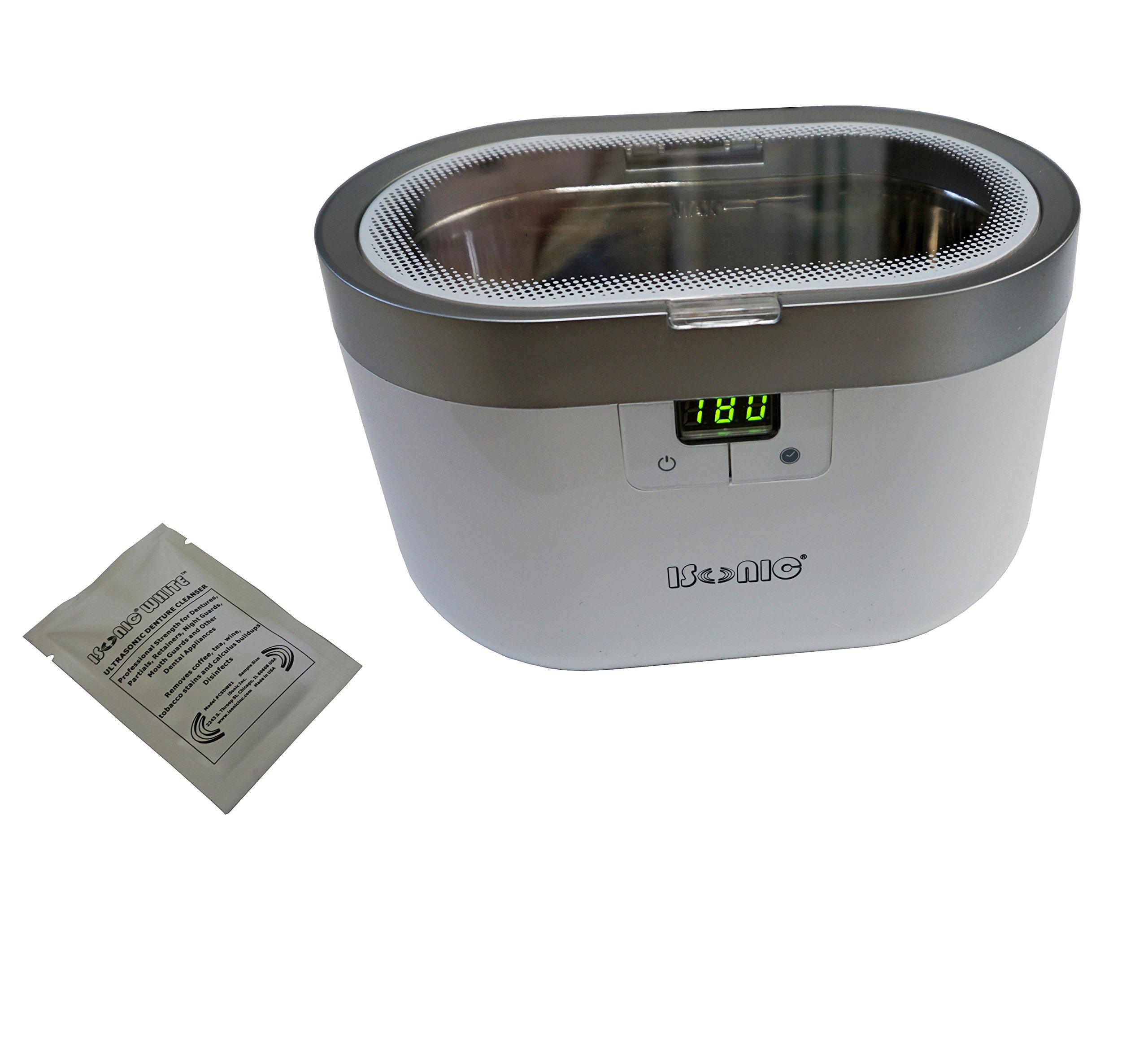 iSonic D2830 Ultrasonic Denture/Dental Appliance Cleaner, 1.3 Point/0.6 L, Plastic Basket, 110V, White
