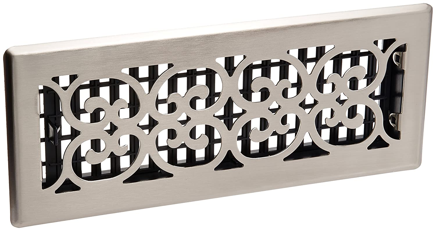 Decor Grates SPH412-NKL 4-Inch by 12-Inch Scroll Floor Register Brushed Nickel