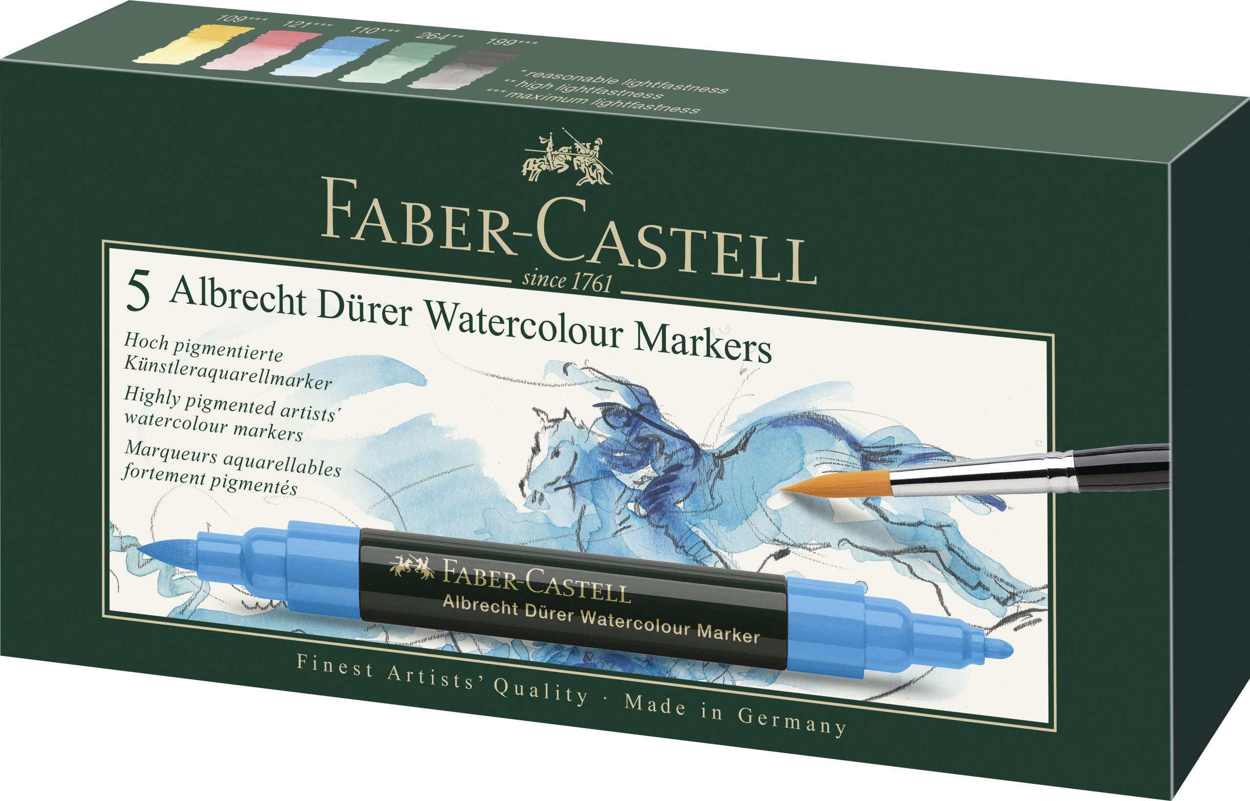 Faber-Castell Albrecht Durer Artists' Watercolor Markers - 5 Assorted Colors - Multipurpose Art Markers