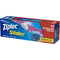 Ziploc Slider Plastic Storage Bags with Smart Zip Plus Seal, Easy Open Tabs, and Stand & Fill Expandable Bottom, BPA…