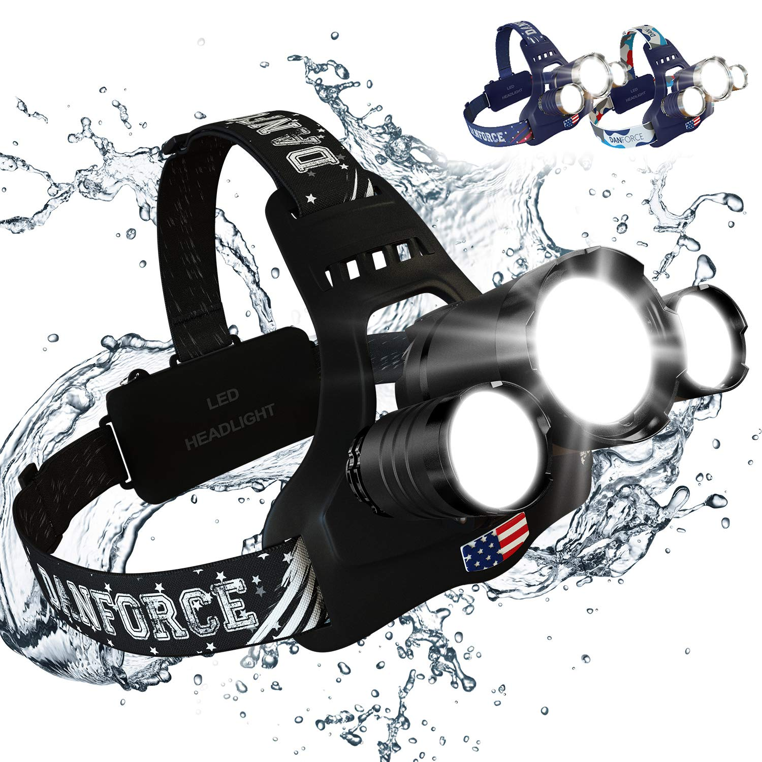 DanForce Headlamp, Ultra Bright Rechargeable LED Headlamp,CREE 1080 Lumens,Zoomable Head Lamp Flashlight. Headlight USB Rechargeable, IPX45 HeadLamps for Camping, Outdoors, Adults,Red Light Include. by DanForce