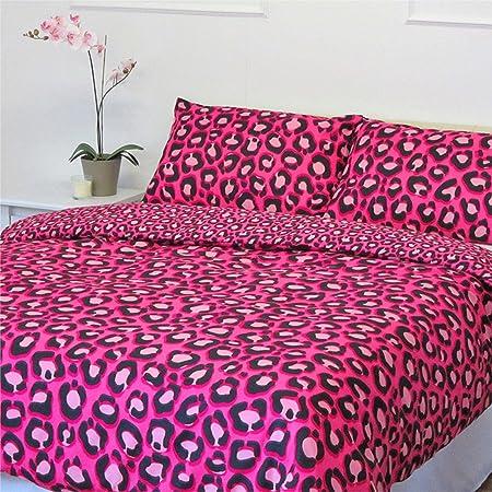 Copripiumino Leopardato Matrimoniale.Copripiumino Con Motivo Leopardato Colore Rosa Shocking Set Di