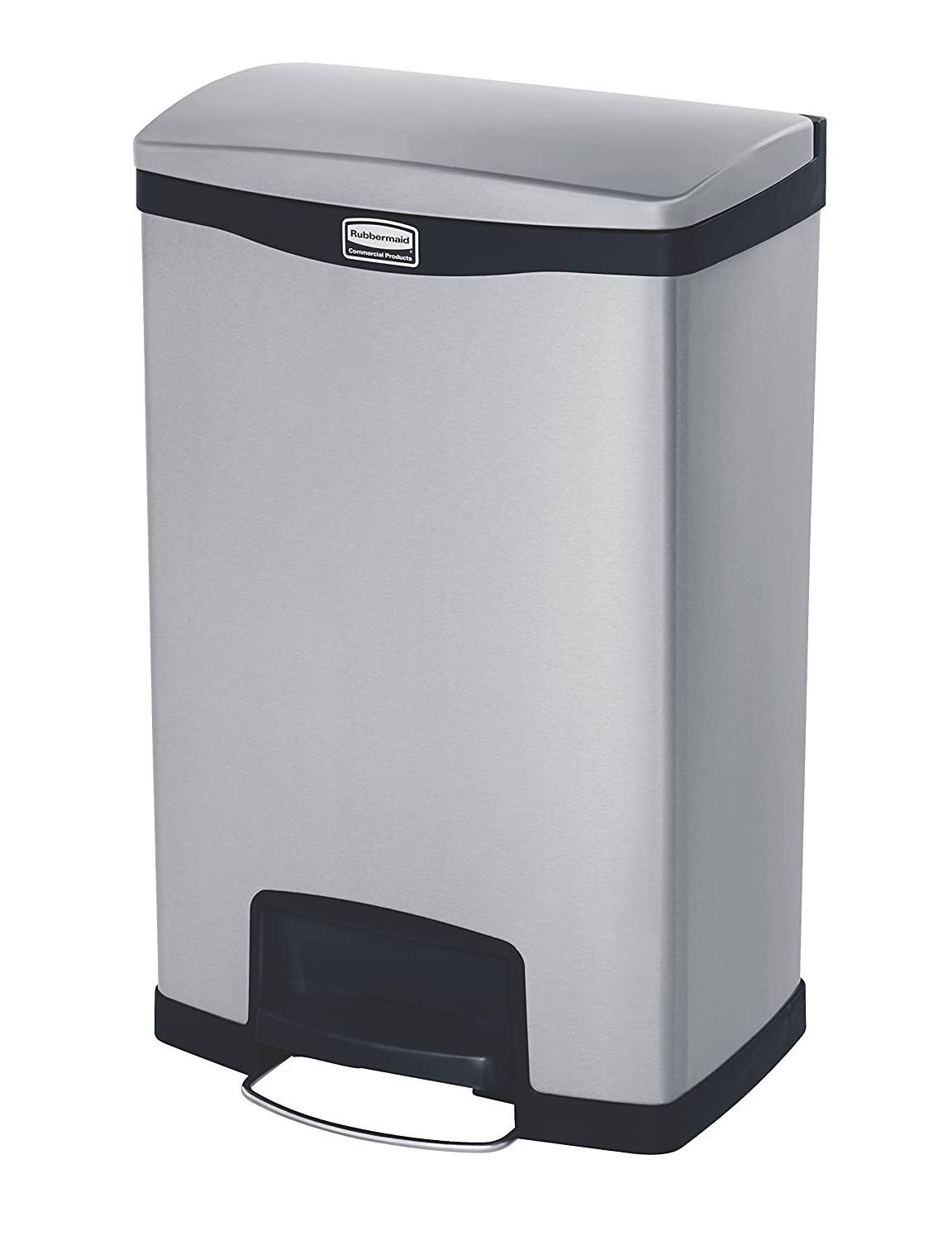 Rubbermaid Commercial Products 1901994 Rubbermaid Commercial Slim Jim Stainless Steel Front Step-On Wastebasket with Trash/Recycling Combo Liner, 13 gal, Black Trim
