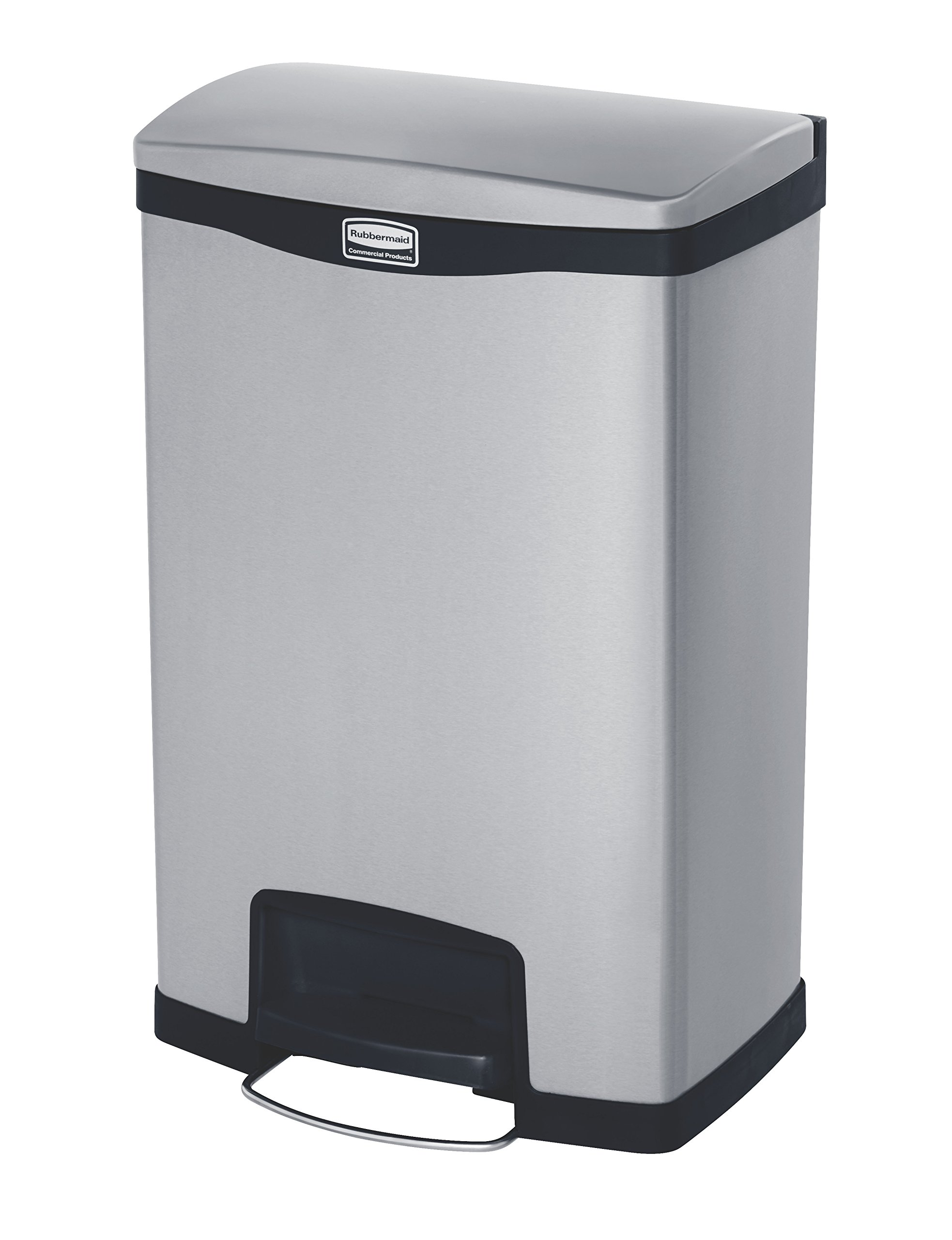 Rubbermaid Commercial Slim Jim Front Step-On Trash Can, Stainless Steel, 13 Gallon, Black (1901992)