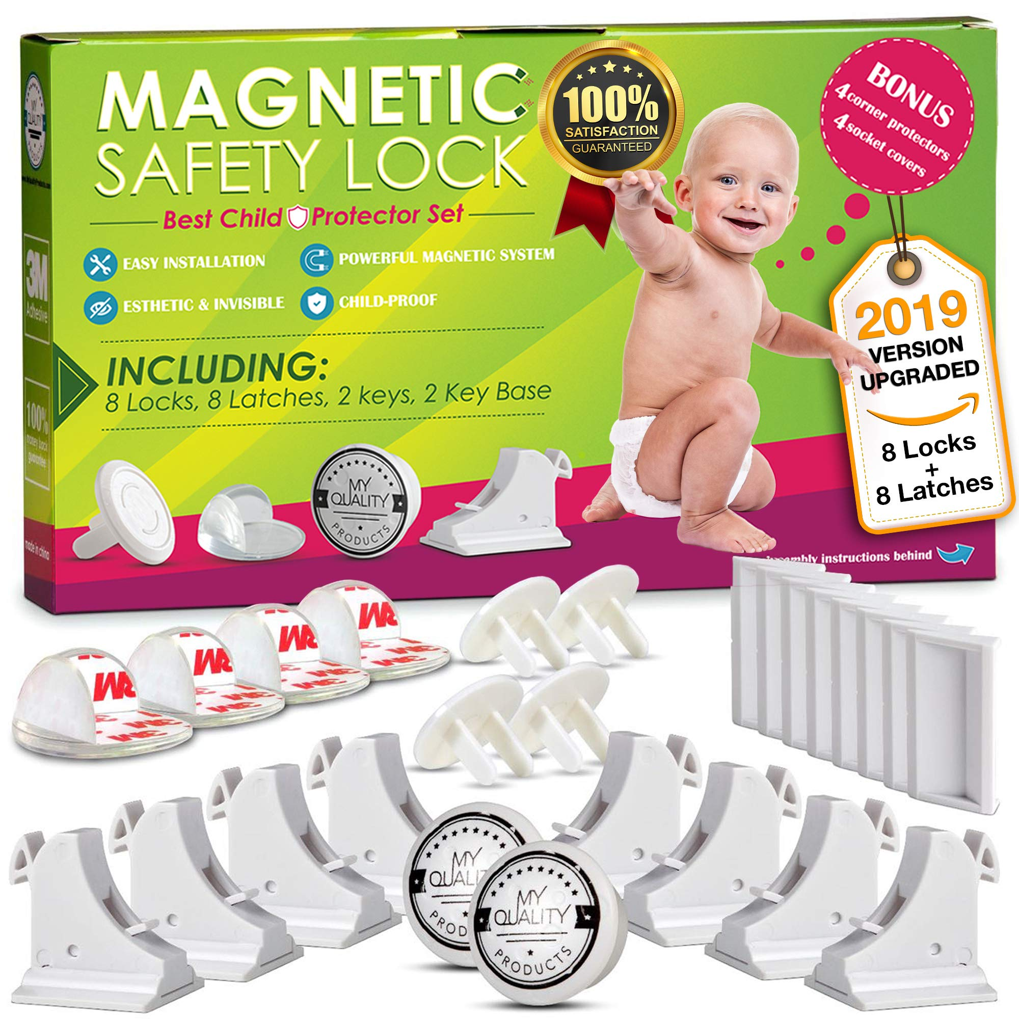 Invisible Magnetic No Drill Safety Lock: Keep Your Baby Safe! Secure Kitchen & Bedroom Cabinets & cupboards with 8 Child Proof Door & Drawer Locks for Kids & Toddlers. 2 Keys & 3M Adhesive Straps by MQP