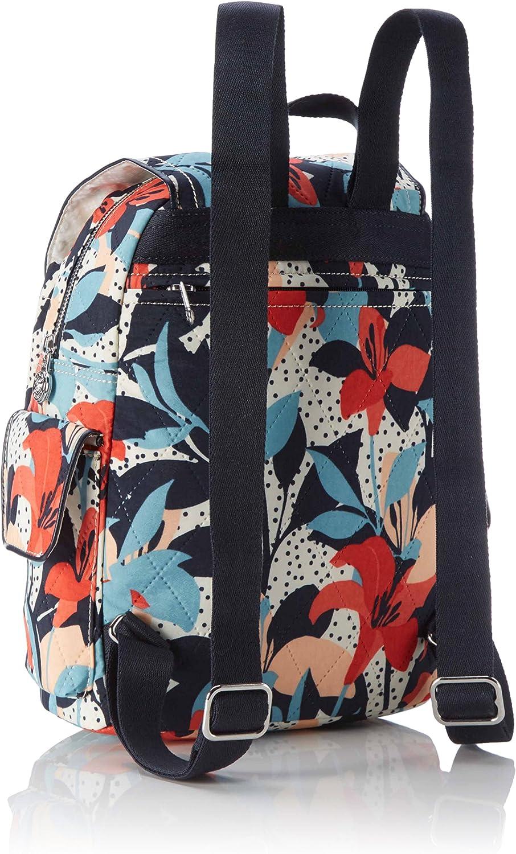 Kipling City Pack-s, Borsa a Zainetto Donna, Nero, 27x33.5x19 cm Multicolore (Pastel Lily Qlt)