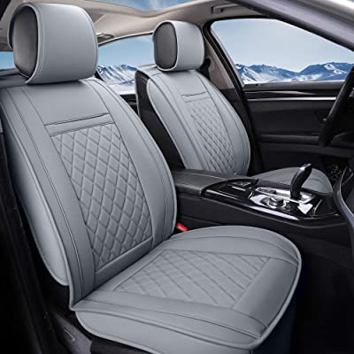 INCH EMPIRE 2 Front Car Seat Cover-Water Proof Synthetic Leather Cushion Universal Fit for Most of Sedan SUV Truck Hatchback Durable Use for All Season(2 Front Grey Grid): Automotive