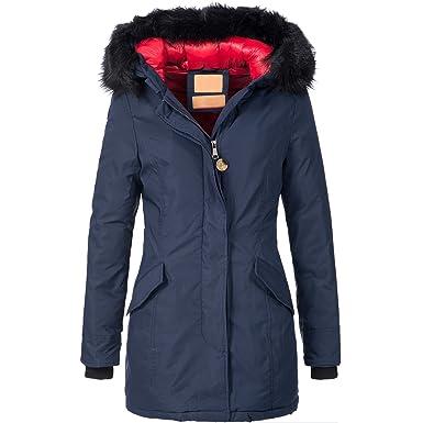 Bol Damen Mantel Kunstfell Winter Jacke Parka Wintermantel Winterjacke warm 15612 S XXL 3Farben