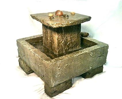 Garden Fountain, Cast Stone, Tuscan, Tier, Cascade Rock, Concrete, Patio