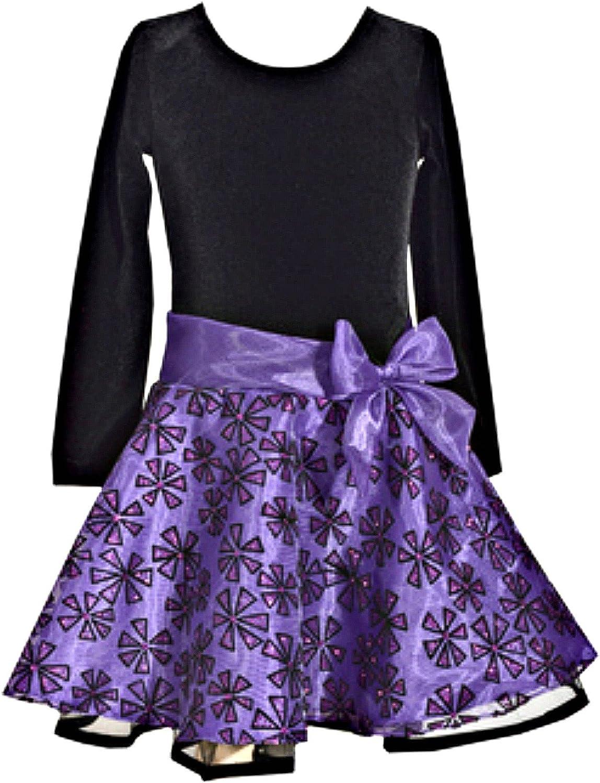 Bonnie Jean Girls Velvet Purple Organza Glitter Dress
