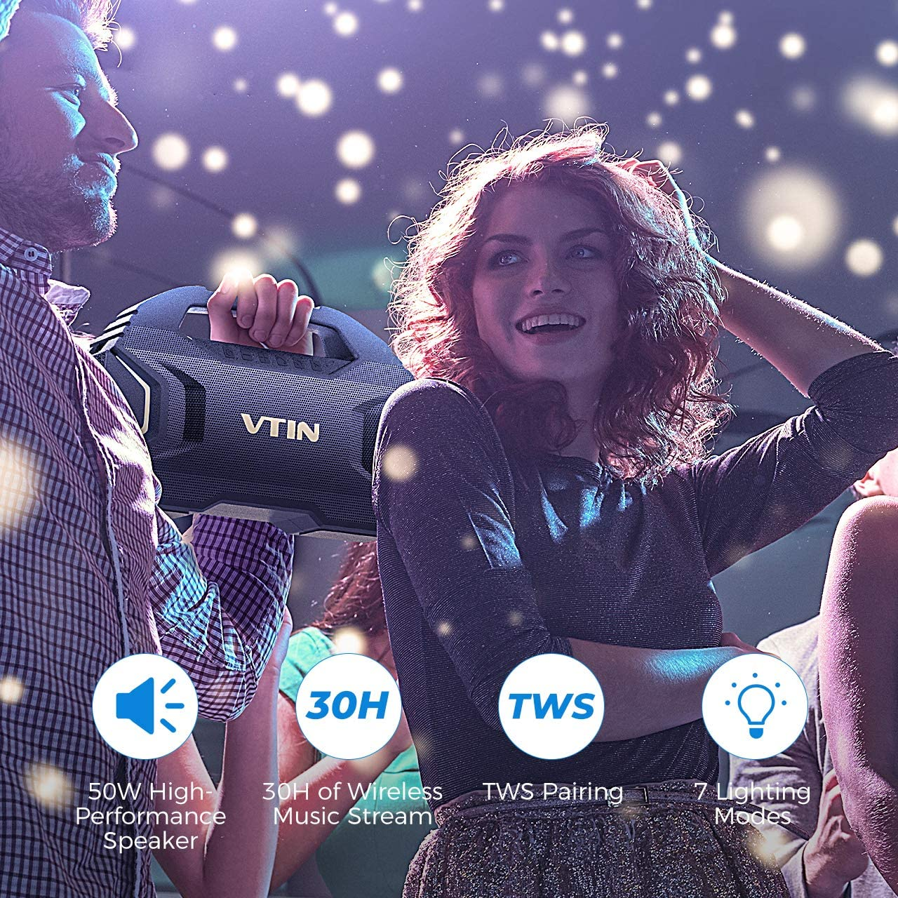 Support TF Card Suitable for Party//Camping//Outdoor VTIN R7 Bluetooth Speakers Waterproof Outdoor Speakers with Powerful Bass 50W Wireless Stereo Pairing Speaker with 30H Playtime 7 Lighting Mode