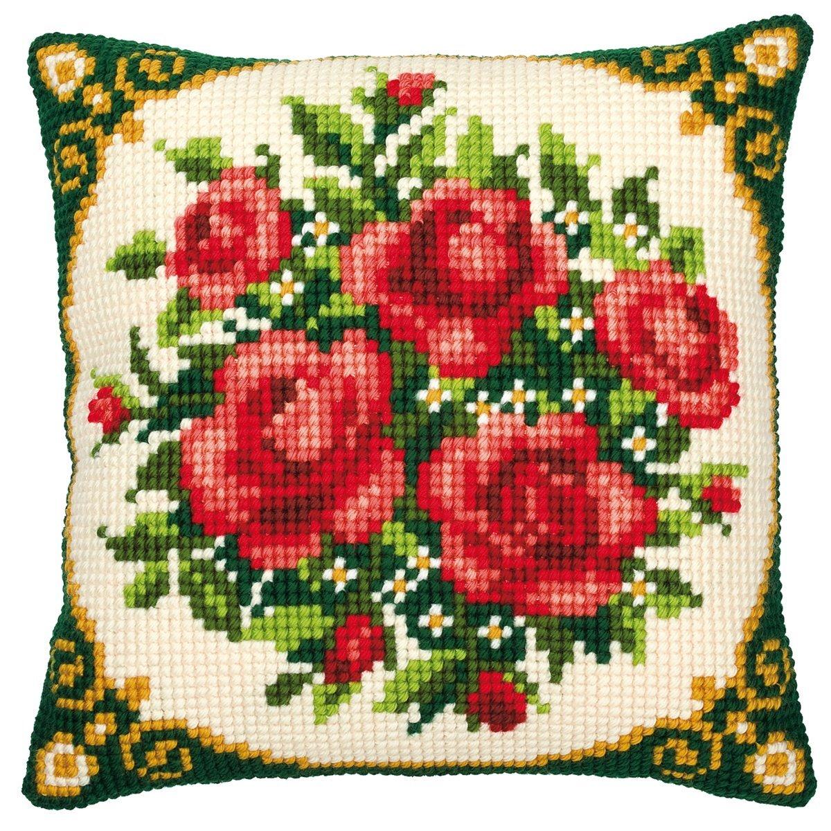 Vervaco Kit per cuscino ricamato a punto croce Bouquet di rose