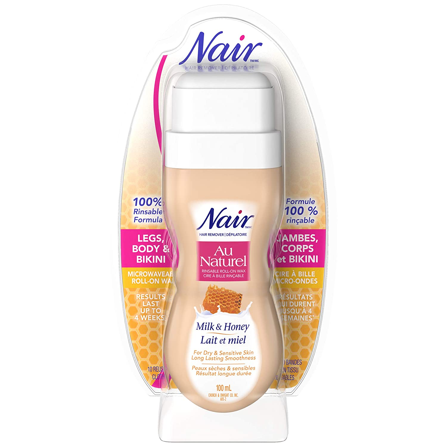 Nair Roll-On Milk and Honey Sugar Wax for Dry & Sensitive Skin 3.4 Ounce/100ml