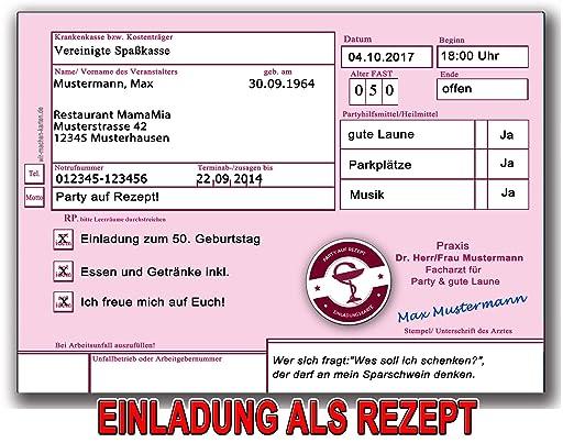 Einladungskarten Zum Geburtstag Als Krankenrezept Rezept Einladung (20  Stück): Amazon.de: Bürobedarf U0026 Schreibwaren
